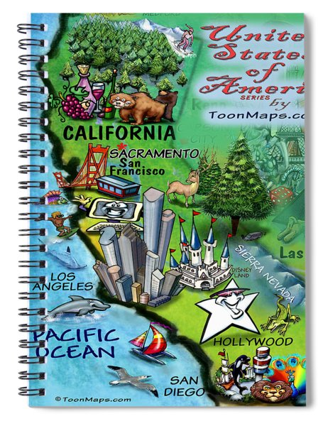 California Fun Map Spiral Notebook