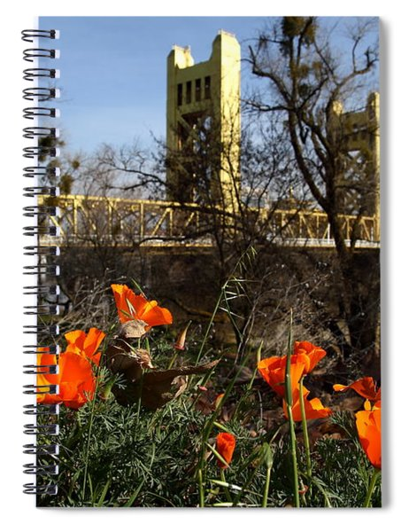 California Poppies With The Slightly Photographically Blurred Sacramento Tower Bridge In The Back Spiral Notebook