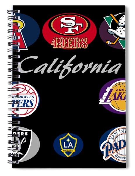 Spiral Notebook featuring the digital art California Professional Sport Teams Collage  by Movie Poster Prints