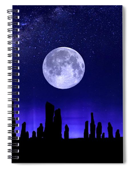 Callanish Stones Under The Supermoon.  Spiral Notebook