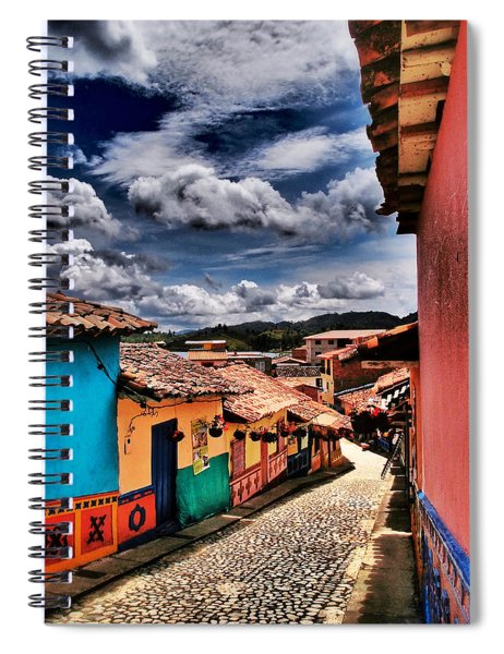 Spiral Notebook featuring the photograph Calle De Colores by Skip Hunt