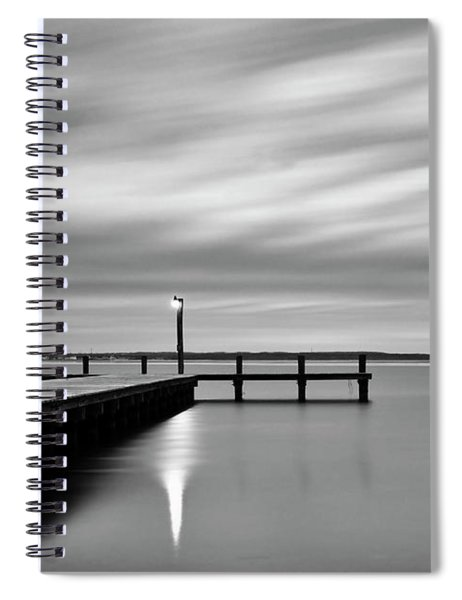 Calm Barnegat Bay New Jersey Black And White Spiral Notebook