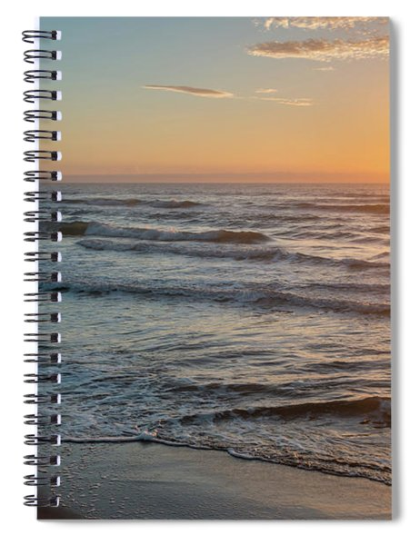 Calm Water Over Wet Sand During Sunrise Spiral Notebook