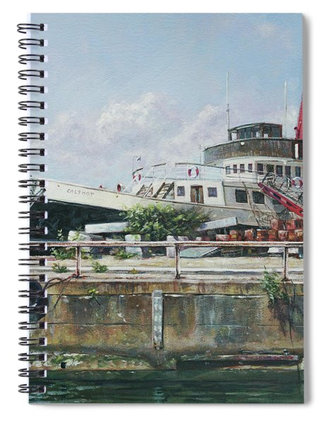 Spiral Notebook featuring the painting Calshot Tug Boat At Southampton Docks by Martin Davey