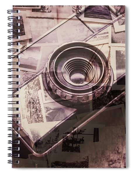 Camera Of A Vintage Double Exposure Spiral Notebook