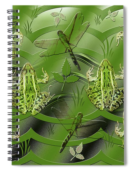 Camo Frog Dragonfly Spiral Notebook