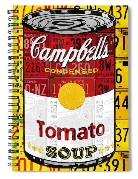 Campbells Tomato Soup Can Recycled License Plate Art Spiral Notebook