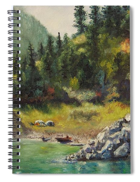 Camping On The Lake Shore Spiral Notebook