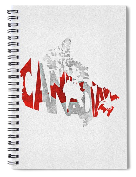 Canada Typographic Map Flag Spiral Notebook