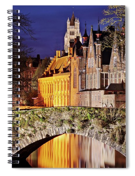 Spiral Notebook featuring the photograph Canal Bridge At Night - Bruges by Barry O Carroll