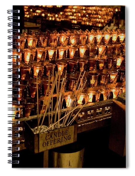Spiral Notebook featuring the photograph Candle Offerings St. Patrick Cathedral by Lorraine Devon Wilke