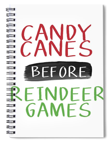 Candy Canes Before Reindeer Games- Art By Linda Woods Spiral Notebook