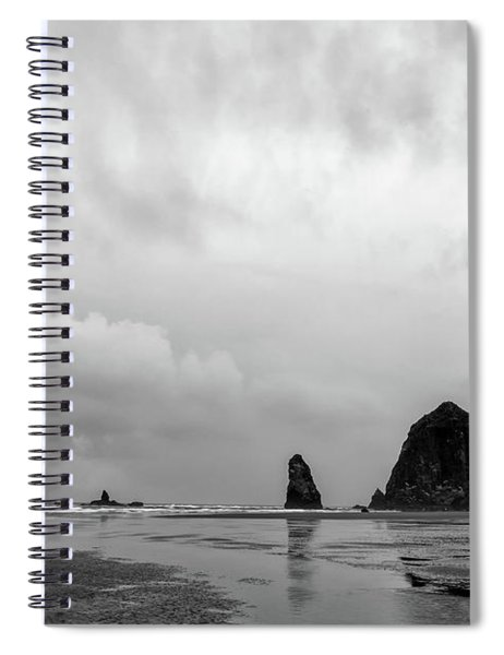 Cannon Beach In Black And White Spiral Notebook