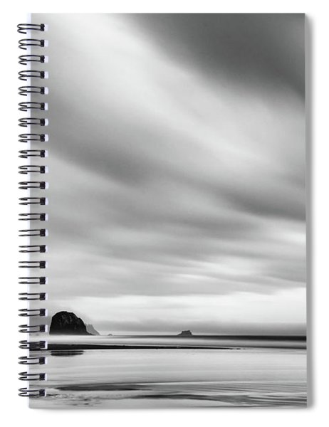Cannon Beach Long Exposure Sunrise In Black And White Spiral Notebook