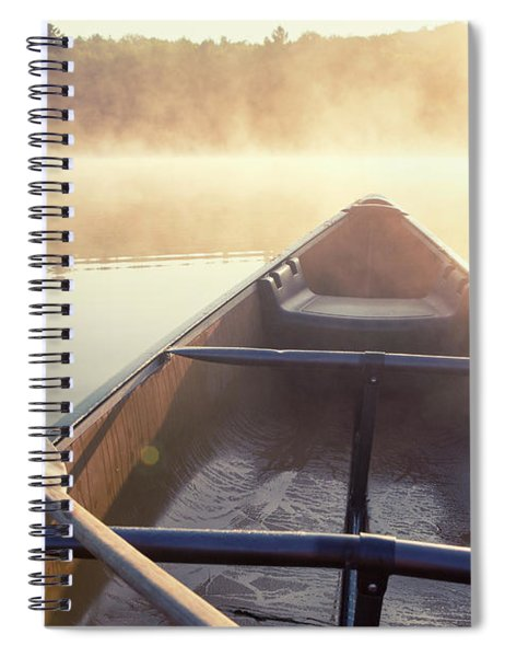 Canoe On Misty Catskills Lake Spiral Notebook