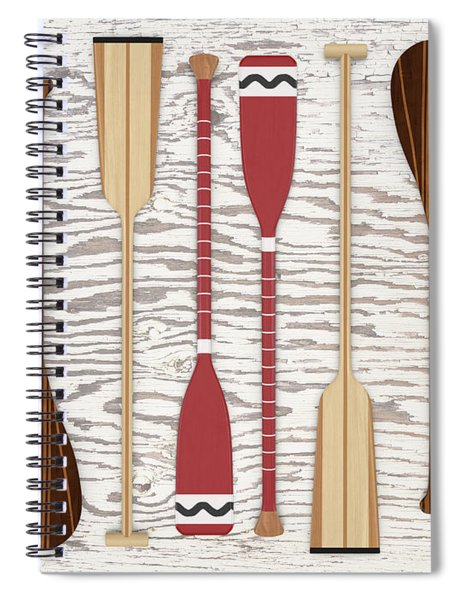 Canoe Paddles And Oars Over Wood Spiral Notebook