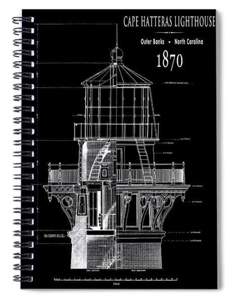 Cape Hatteras Lighthouse Engineering Drawing 1869 Spiral Notebook