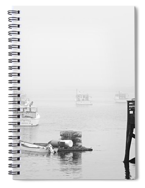 Cape Porpoise Lobster Boats In Fog Spiral Notebook