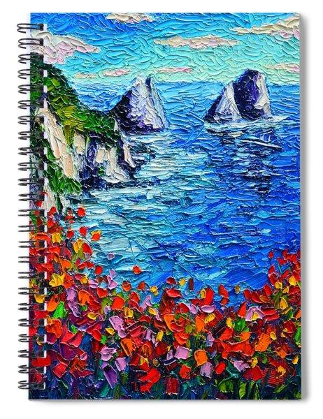 Capri Faraglioni 2 Italy Colors Modern Impressionist Palette Knife Oil Painting Ana Maria Edulescu  Spiral Notebook