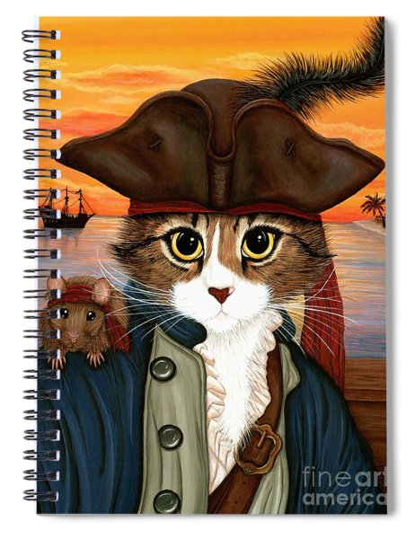 Captain Leo - Pirate Cat And Rat Spiral Notebook