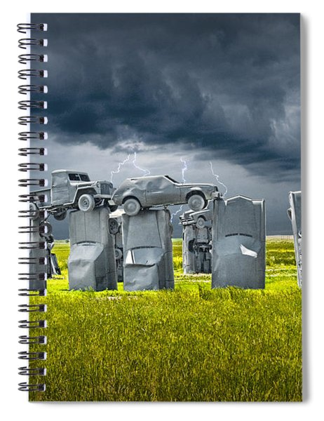 Car Henge In Alliance Nebraska After England's Stonehenge Spiral Notebook
