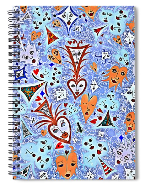 Card Game Symbols With Faces In Blue Spiral Notebook
