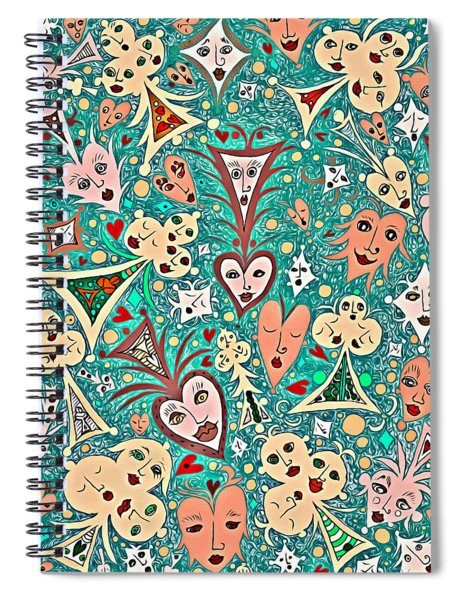 Card Game Symbols With Faces In Green Spiral Notebook