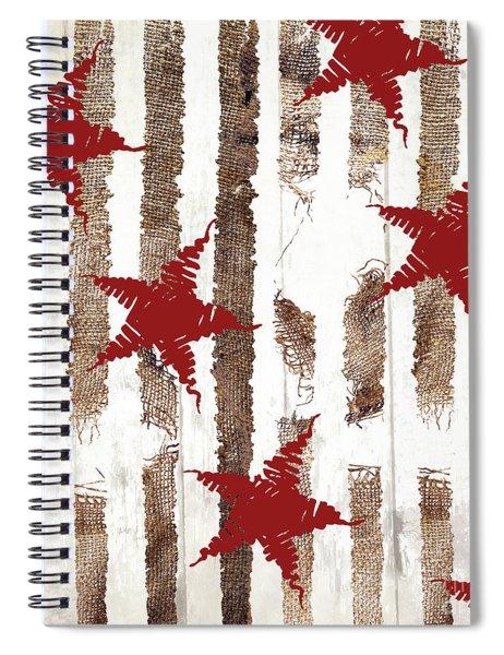 Cardinal Holiday Burlap Star Pattern Spiral Notebook