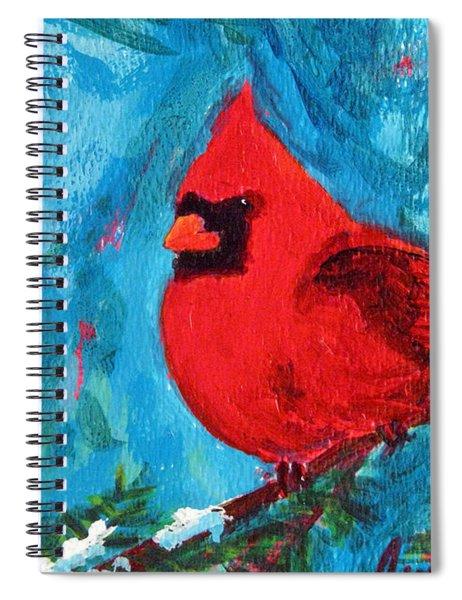 Cardinal Red Bird Watercolor Modern Art Spiral Notebook