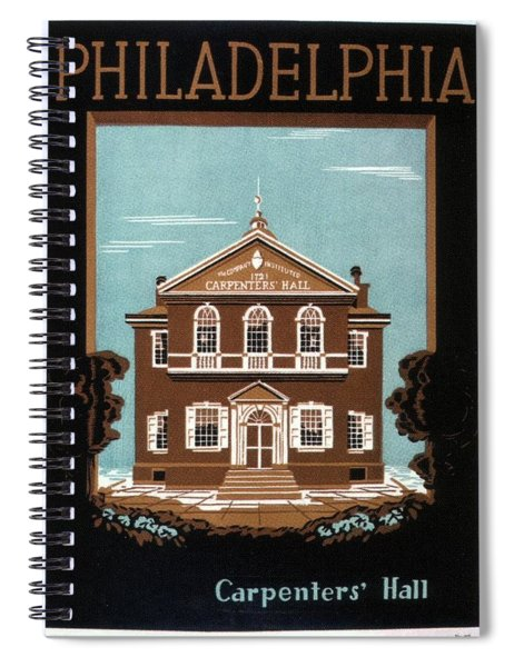 Carpenters Hall - Philadelphia, Pennsylvania - Retro Travel Poster - Vintage Poster Spiral Notebook