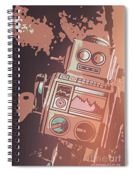 Cartoon Cyborg Robot Spiral Notebook