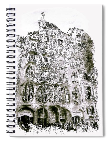 Casa Batllo Barcelona Black And White Spiral Notebook