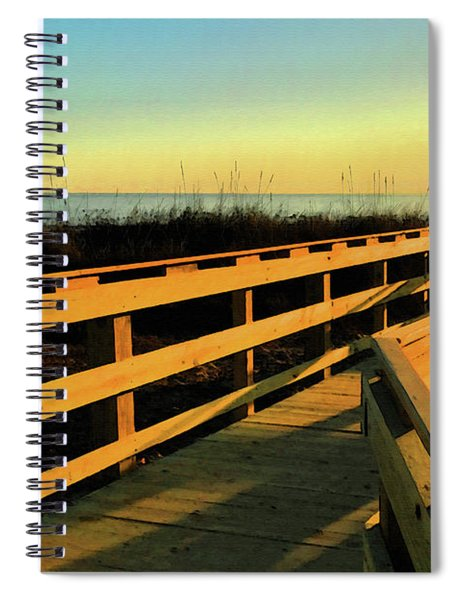 Spiral Notebook featuring the digital art Caswell Sunset by Gina Harrison