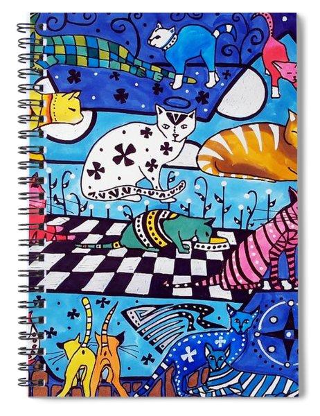 Cat Cocktail - Cat Art By Dora Hathazi Mendes Spiral Notebook