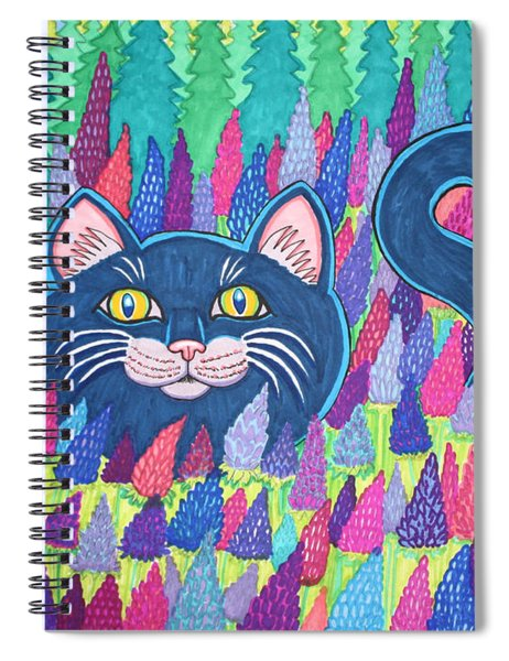 Cat In Field Of Flowers Spiral Notebook