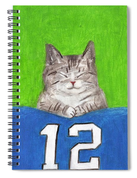 Cat With 12th Flag Spiral Notebook