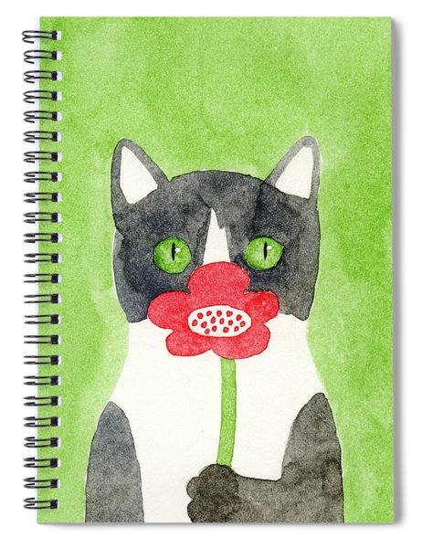 Cat With A Red Flower Spiral Notebook