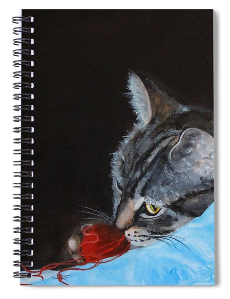 Cat With Red Yarn Spiral Notebook