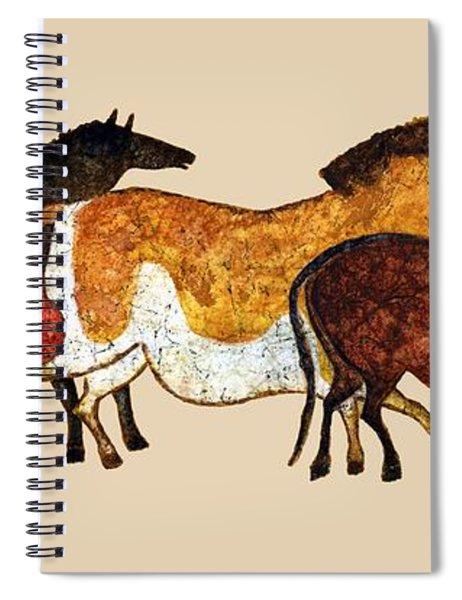 Cave Horses In Beige Spiral Notebook