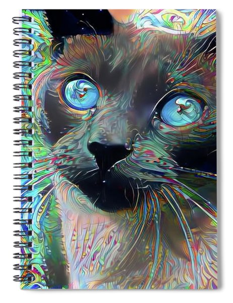 Cecil The Psychedelic Siamese Cat Spiral Notebook