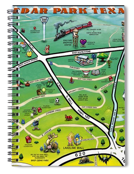 Cedar Park Texas Cartoon Map Spiral Notebook