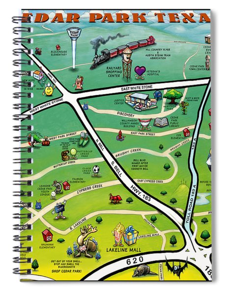Cedar Park Texas Cartoon Map Spiral Notebook