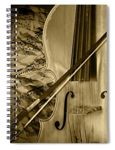 Cello Stringed Instrument With Sheet Music And Bow In Sepia Spiral Notebook