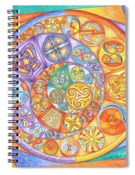 Celtic Crescents Rainbow Spiral Notebook