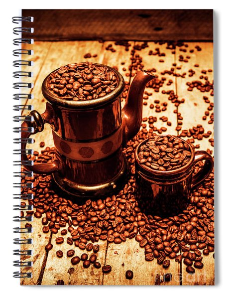 Ceramic Coffee Pot And Mug Overflowing With Beans Spiral Notebook
