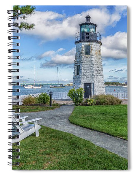Chairs At Newport Harbor Lighthouse Spiral Notebook
