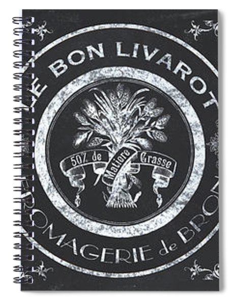Chalkboard French Cheese Labels Spiral Notebook