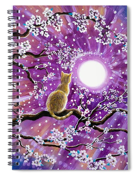 Champagne Tabby Cat In Cherry Blossoms Spiral Notebook