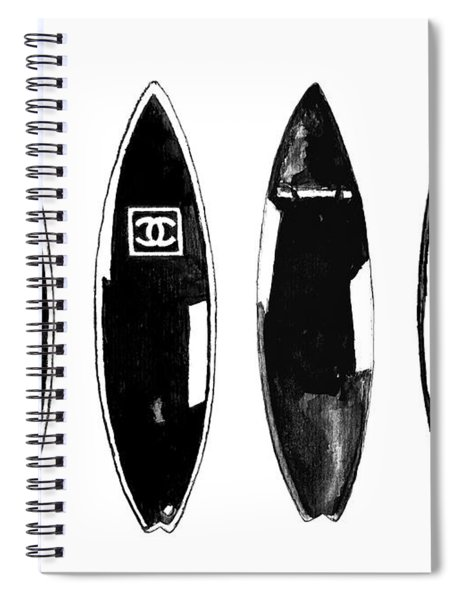 Chanel Surfboard  Black And White Spiral Notebook