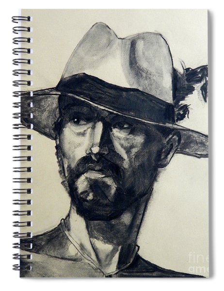 Charcoal Portrait Of A Man Wearing A Summer Hat Spiral Notebook